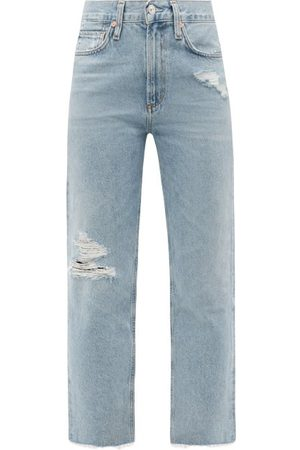 Citizens of Humanity Daphne High-rise Distressed Cropped-leg Jeans - Womens - Light Denim