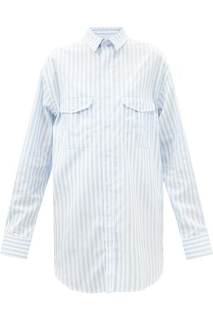 WARDROBE.NYC Women Casual Dresses - Release 07 Striped Cotton-poplin Mini Shirt Dress - Womens