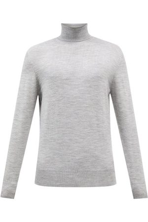 Raey Mercerised Merino Wool Roll-neck Sweater - Mens - Light Grey