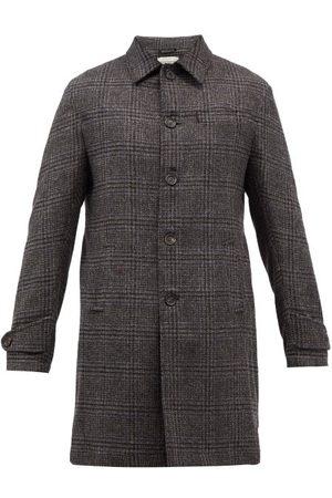 Oliver Spencer Hartnet Checked Wool Overcoat - Mens - Grey Multi