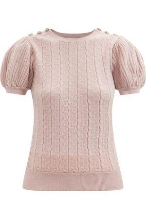Erdem Women Short sleeves - Belva Embellished Cable-knit Short-sleeved Sweater - Womens