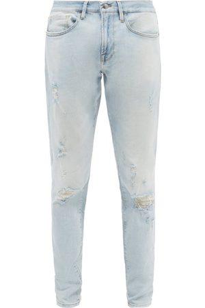 Frame L'homme Distressed Skinny-leg Jeans - Mens - Light