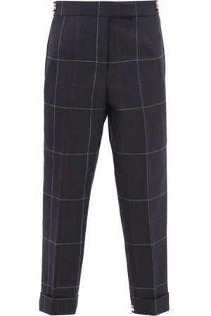 Thom Browne Women Pants - Windowpane-check Herringbone Wool Cropped Trousers - Womens - Navy