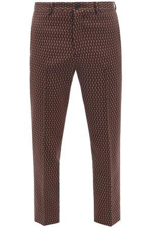 Sasquatchfabrix Geometric-jacquard Cropped Tailored Trousers - Mens - Print