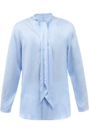 Umit Benan B+ Striped Scarf-neck Silk-poplin Shirt - Mens