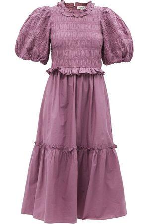 SEA Rene Puff-sleeve Shirred Cotton-poplin Dress - Womens