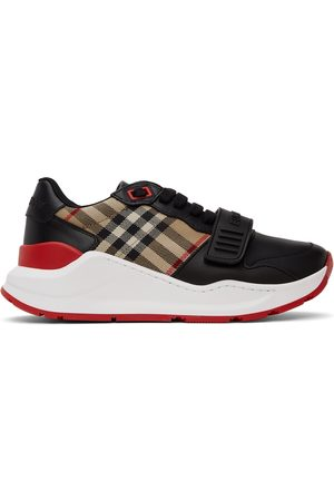 Burberry Black Leather Vintage Check Sneakers