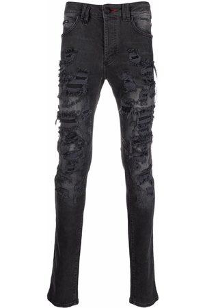 Philipp Plein Men Straight - Super Straight Cut logo-embroidered jeans