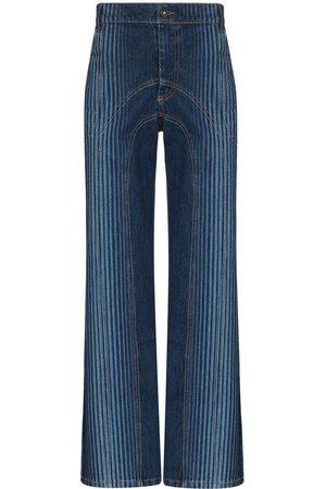 Ahluwalia Striped high-waisted jeans