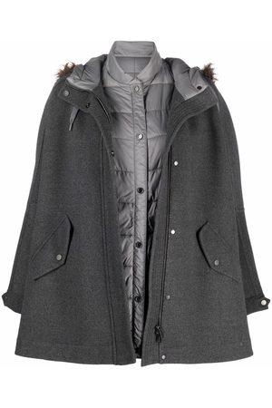 Brunello Cucinelli Women Ponchos & Capes - Layered wool jacket - Grey