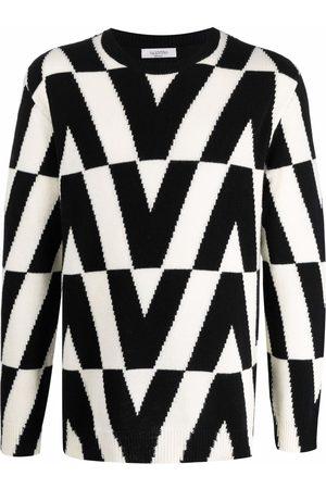 Valentino Men Long sleeves - V-motif graphic-knit long-sleeve jumper