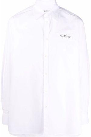 VALENTINO Floral-appliqué cotton shirt