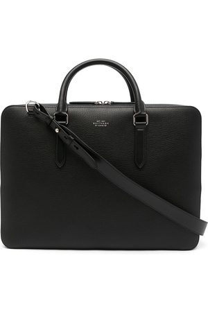 Smythson Logo-detail grained leather briefcase