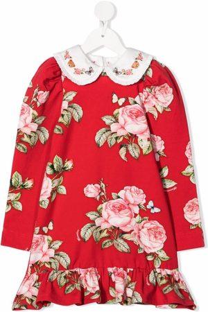 Monnalisa Girls Printed Dresses - Rose-print Peter Pan-collar dress