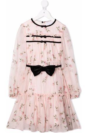 Monnalisa Girls Printed Dresses - Floral-print tiered dress