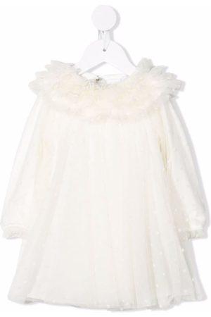 Monnalisa Baby Dresses - Long-sleeved tulle dress - Neutrals