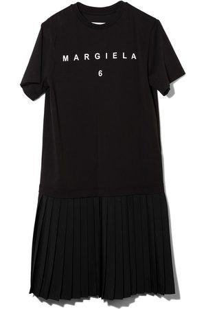 MM6 MAISON MARGIELA KIDS Girls Printed Dresses - Pleated hem logo print dress