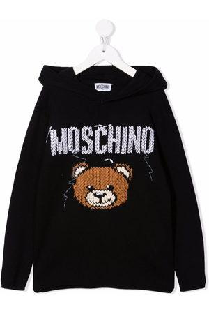 Moschino Kids Boys Hoodies - Teddy bear-motif knitted-detail hoodie