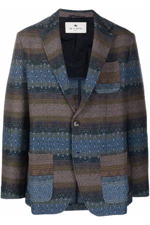 Etro Men Blazers - Geometric-woven single-breasted blazer