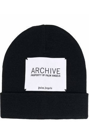 Palm Angels Archive logo patch beanie