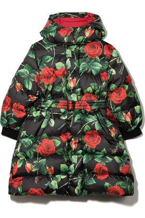 Dolce & Gabbana Kids Rose-print puffer coat