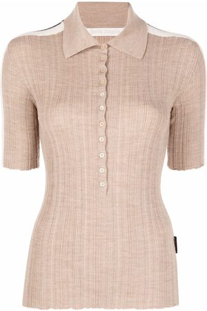 Palm Angels Side-stripe polo top - Neutrals
