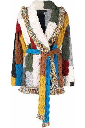 Alanui Women Cardigans - Mixed knit wrapped cardigan
