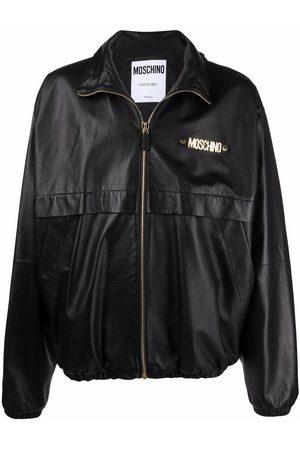 Moschino Zip-up logo-detail sheepskin jacket