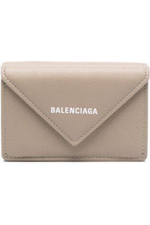 Balenciaga Women Wallets - Logo-stamp envelope wallet - Neutrals