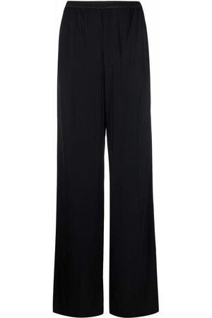 Balenciaga Women Wide Leg Pants - Logo-waistband wide-leg trousers