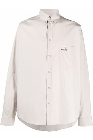 Balenciaga Embroidered logo button-down shirt - Grey