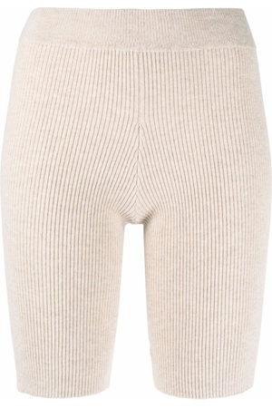 AMI AMALIA Ribbed-knit merino shorts - Neutrals