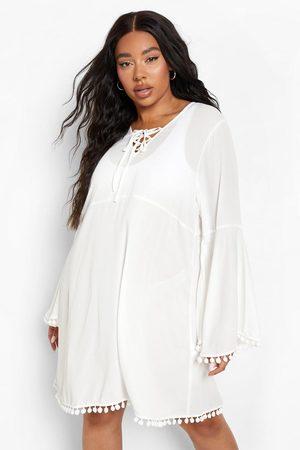 Boohoo Women Dresses - Womens Plus Tassel Flare Sleeve Smock Dress - - 12