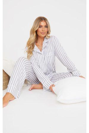 PrettyLittleThing Women Bathrobes - Grey Stripe Oversized Jersey Button Up Long PJ Set