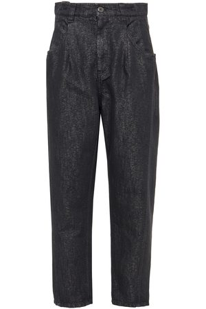 BRUNELLO CUCINELLI Woman Pleated Bead-embellished Metallic High-rise Tapered Jeans Anthracite Size 46
