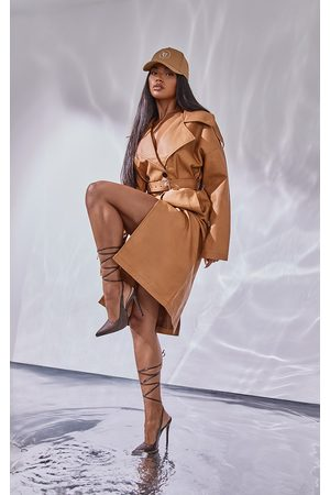PRETTYLITTLETHING Women Trench Coats - Camel Faux Leather Drop Arm Midi Trench