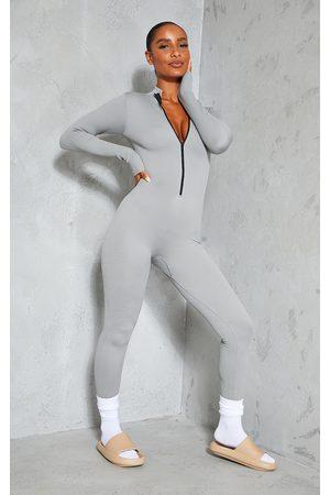 PrettyLittleThing Grey Marl Structured Contour Rib Zip Jumpsuit