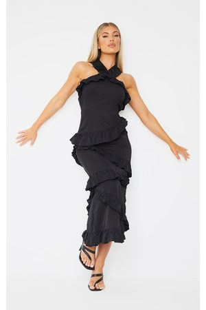 PRETTYLITTLETHING Women Halterneck Dresses - Halterneck Ruffle Detail Midi Dress