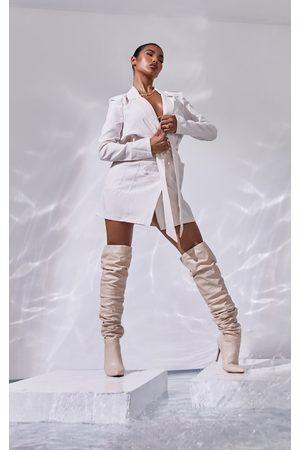 PRETTYLITTLETHING Women Long sleeves - Nude Linen Long Sleeve Tie Waist Blazer Dress