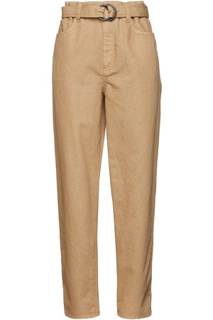 BRUNELLO CUCINELLI Women High Waisted - Woman Bead-embellished Metallic High-rise Tapered Jeans Sand Size 42