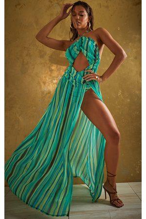 PrettyLittleThing Women Maxi Dresses - Abstract Stripe Chiffon Maxi Beach Dress