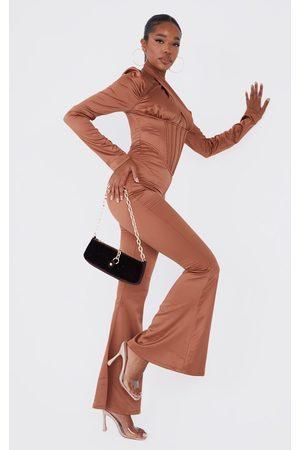 PRETTYLITTLETHING Women Jumpsuits - Chocolate Satin Corset Detail Cross Bust Jumpsuit