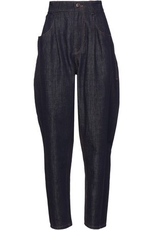 BRUNELLO CUCINELLI Woman Bead-embellished Pleated High-rise Tapered Jeans Dark Denim Size 36