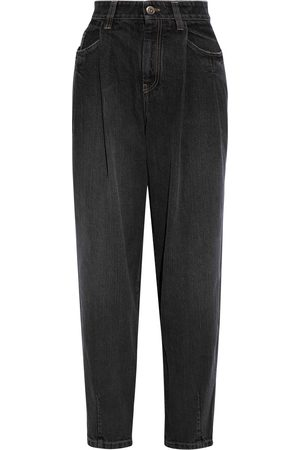 BRUNELLO CUCINELLI Woman Bead-embellished Pleated High-rise Tapered Jeans Anthracite Size 42