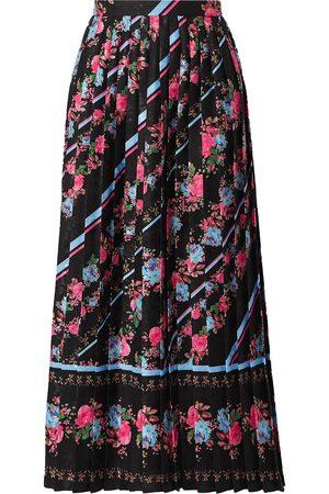 Erdem Woman Nolana Pleated Floral-print Satin-jacquard Midi Skirt Size 12