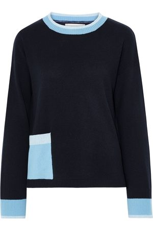 CHINTI & PARKER Women Sweaters - Woman Color-block Wool And Cashmere-blend Sweater Navy Size L