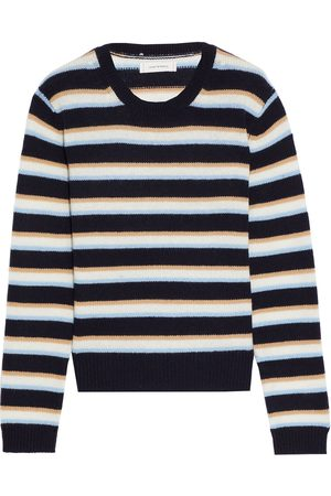 CHINTI & PARKER Woman Striped Wool And Cashmere-blend Sweater Navy Size L