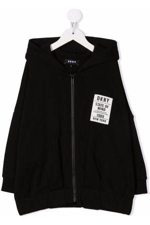 Dkny Kids Girls Bomber Jackets - Logo-print zip-up hoodie