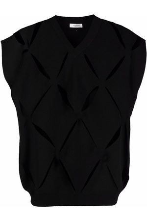 Valentino Men Sweatshirts - V cut-out sleeveless knitted jumper