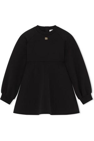 Dolce & Gabbana Kids Girls Casual Dresses - Logo-plaque sweater dress